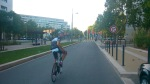Adrian bei der Einfahrt in Montpellier. Hier sah es noch recht einladend aus - dichter Verkehr folgte noch...